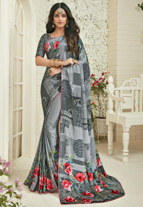 Printed Satin Georgette Saree in Grey