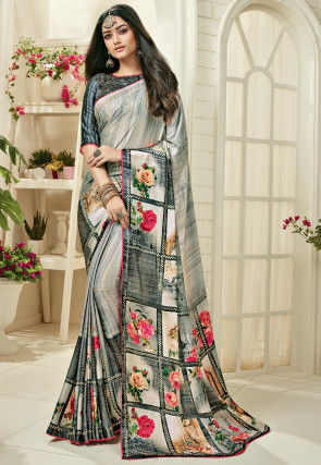 Printed Satin Georgette Saree in Light Grey