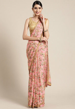 Printed Satin Georgette Saree in Pink