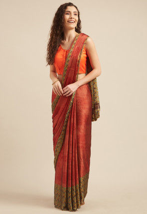Printed Satin Georgette Saree in Rust