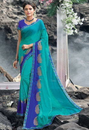 Printed Satin Georgette Saree in Turquoise