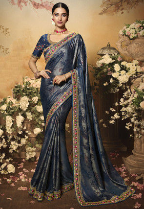 Printed Satin Georgette Shimmer Saree in Navy Blue
