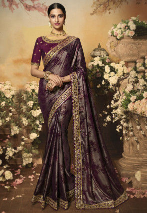 Printed Satin Georgette Shimmer Saree in Wine