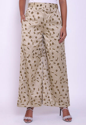 Printed Satin Palazzo in Light Beige
