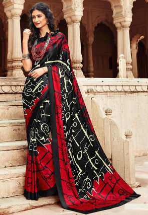 Printed Satin Saree in Black