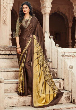 Printed Satin Saree in Brown and Beige