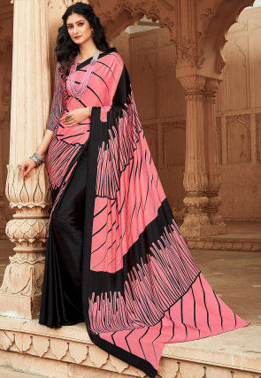 Printed Satin Saree in Coral Pink and Black