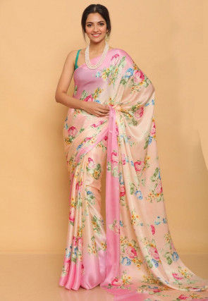 Printed Satin Saree in Light Peach and Pink
