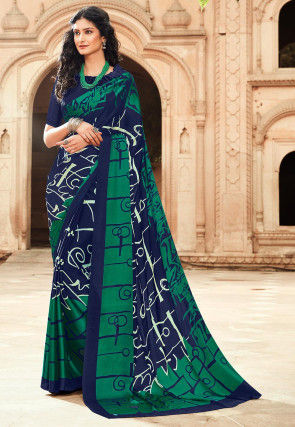 Printed Satin Saree in Navy Blue