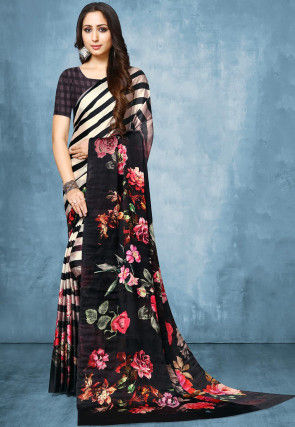 Printed Satin Saree in Off White and Black
