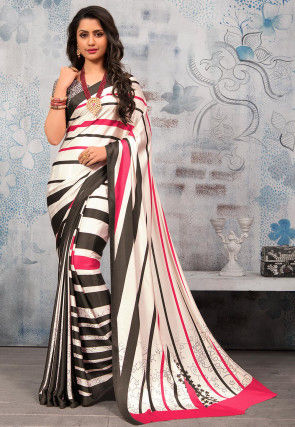 Printed Satin Saree in Off White