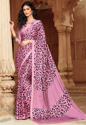 Printed Satin Saree in Pink