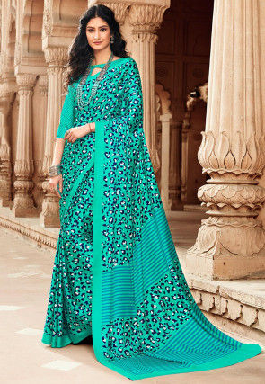 Printed Satin Saree in Turquoise