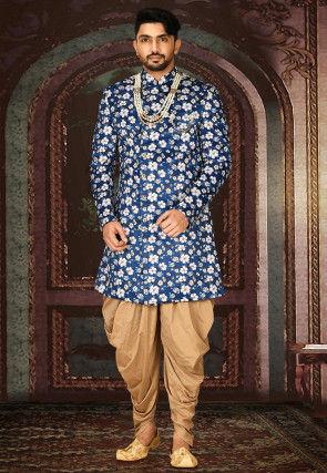 Printed Satin Sherwani in Dark Blue