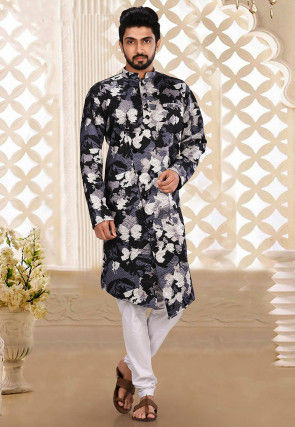 Printed Scuba Kurta Set in Multicolor