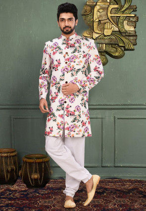 Printed Scuba Sherwani in Off White