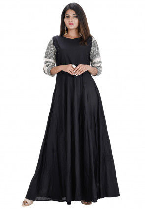 Printed Sleeve Cotton Long Kurta in Black