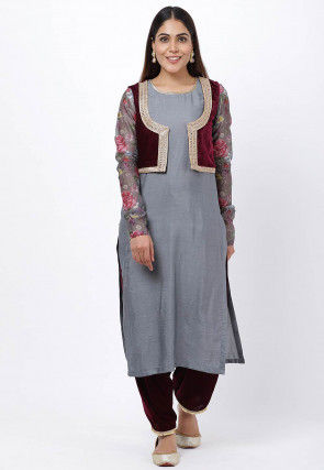 Printed Sleeves Cotton Silk Kurta with Salwar in Grey