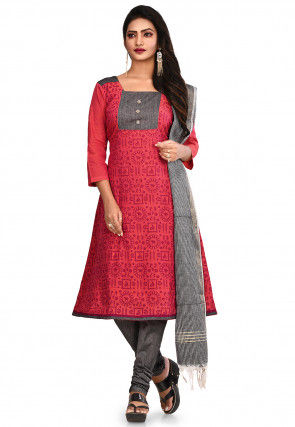 Printed South Cotton Straight Suit in Coral Red