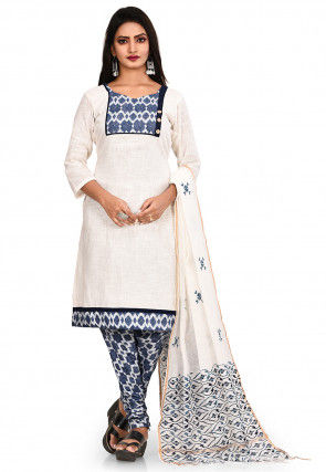 Printed South Cotton Straight Suit in Cream