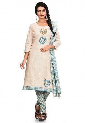 Printed South Cotton Straight Suit in Light Beige