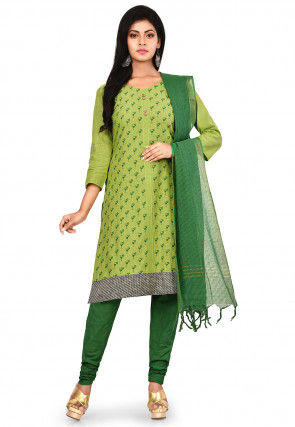 Printed South Cotton Straight Suit in Light Green