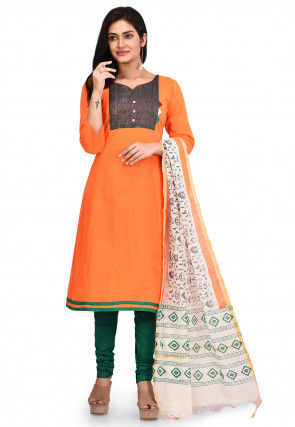 Printed South Cotton Straight Suit in Orange