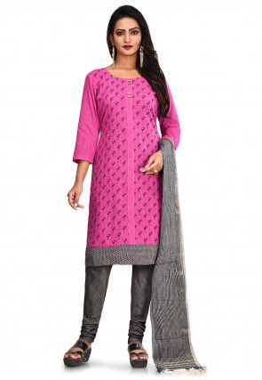 Printed South Cotton Straight Suit in Pink