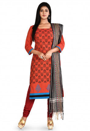 Printed South Cotton Straight Suit in Rust