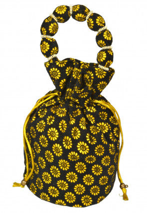 Printed Suede Potali Bag in Black and Yellow