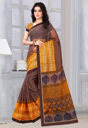 Printed Supernet Saree in Brown