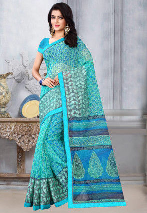 Printed Supernet Saree in Light Blue