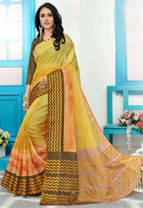 Printed Supernet Saree in Mustard