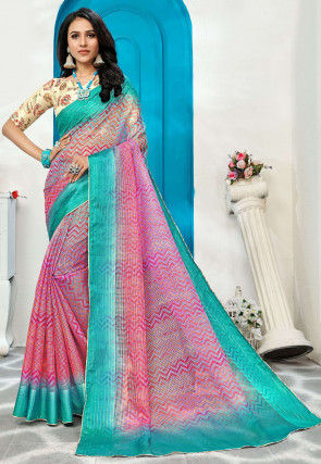 Printed Supernet Saree in Pink