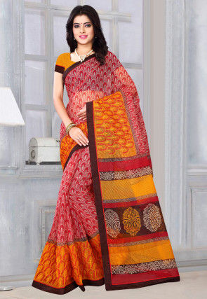 Printed Supernet Saree in Red