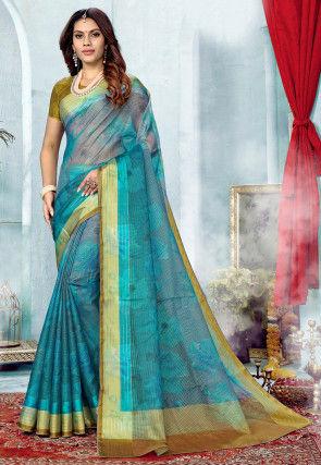 Printed Supernet Saree in Teal Blue
