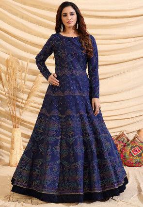 Printed Tafetta Silk Gown in Navy Blue
