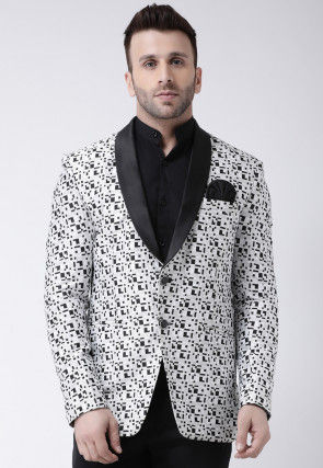 Printed Terry Cotton Tuxedo in White and Black