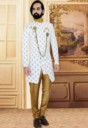 Printed Terry Rayon Asymmetric Jodhpuri Suit in Off White