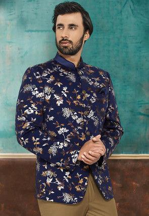 Printed Terry Rayon Jodhpuri Jacket in Navy Blue