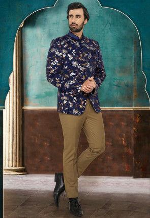Printed Terry Rayon Jodhpuri Suit in Navy Blue