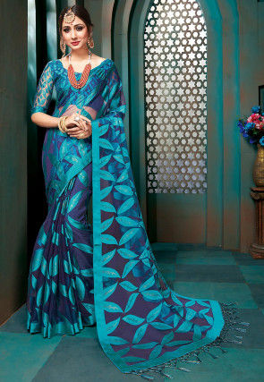 Printed Tissue Brasso Saree in Blue