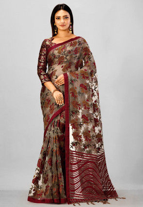 Printed Tissue Brasso Saree in Light Fawn and Maroon