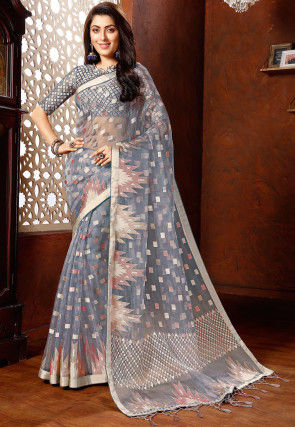Printed Tissue Brasso Saree in Light Grey