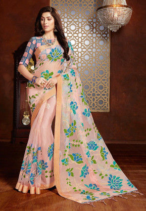 Printed Tissue Brasso Saree in Light Pink