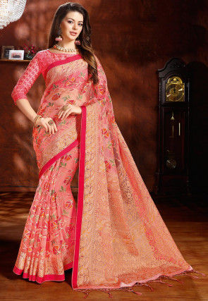 Printed Tissue Brasso Saree in Peach