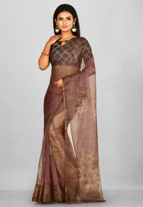 Printed Tissue Saree in Dark Brown