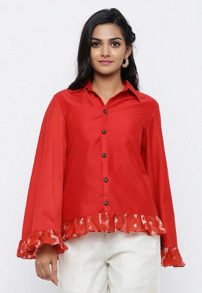 Printed Trim Cotton Silk Top in Red