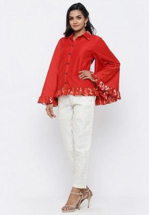 Printed Trim Cotton Silk Top Set in Red