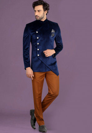Printed Velvet Asymmetric Jodhpuri Suit in Navy Blue